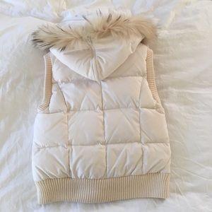 BCBG Maxazria Down Vest with Fur Hood